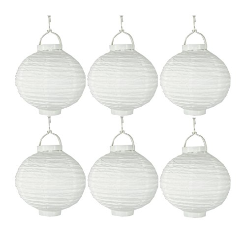 6 st ck lampions aus papier mit led licht batteriebetrieben f r den garten. Black Bedroom Furniture Sets. Home Design Ideas