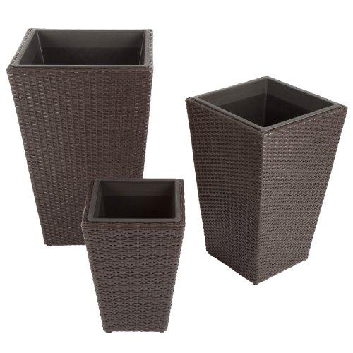 ultranatura poly rattan pflanzk bel 3er set palma serie f r den garten. Black Bedroom Furniture Sets. Home Design Ideas