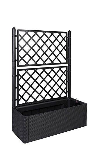 xl rankgitter spalier mit pflanzkasten in moderner rattan optik aus robustem kunststoff in. Black Bedroom Furniture Sets. Home Design Ideas
