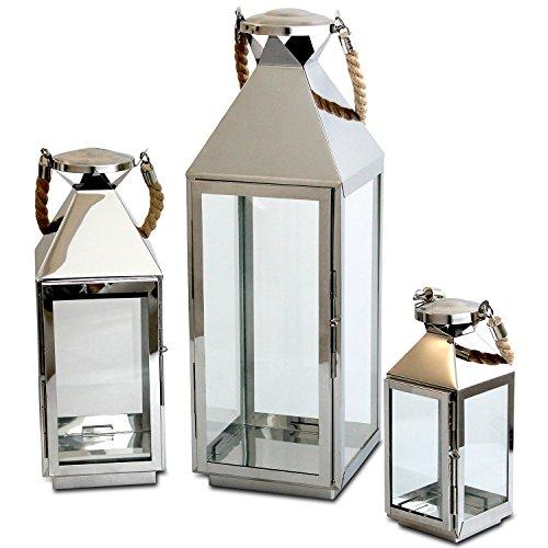 edles 3tlg laternen set h55 5 40 25cm edelstahl mit griff aus geflochtenem seil und. Black Bedroom Furniture Sets. Home Design Ideas