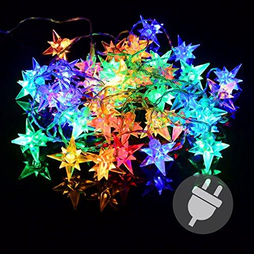 40er led lichterkette stern weihnachten bunt sternenlichterkette xmas au en f r den garten. Black Bedroom Furniture Sets. Home Design Ideas