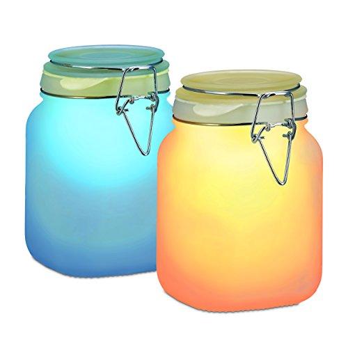 relaxdays solarleuchte im einmachglas solar glas mit 2 led wasserdicht farbwechsel. Black Bedroom Furniture Sets. Home Design Ideas