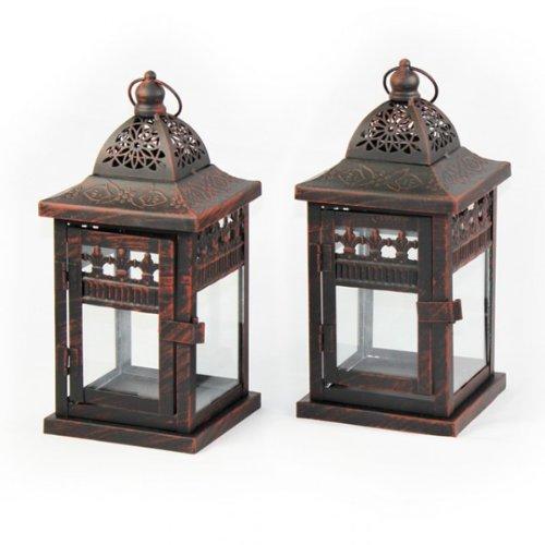 2er set laterne lucca braun jugendstil 24cm windlicht. Black Bedroom Furniture Sets. Home Design Ideas