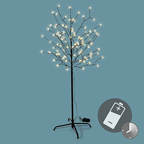 96 led baum mit bl ten bl tenbaum lichterbaum warm wei 150 cm batterie timer. Black Bedroom Furniture Sets. Home Design Ideas