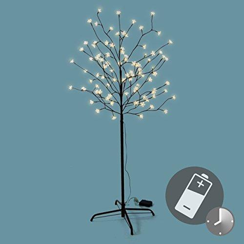 96 led baum mit bl ten bl tenbaum lichterbaum warm wei 150 cm batterie timer - Weihnachtsbeleuchtung batterie ...