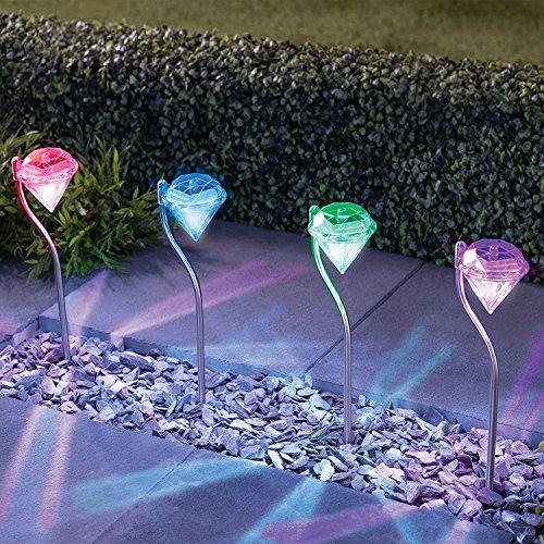 solarlampe f r garten mit 4er set farbwechsel edelstahl diamant led solarleuchten garten. Black Bedroom Furniture Sets. Home Design Ideas