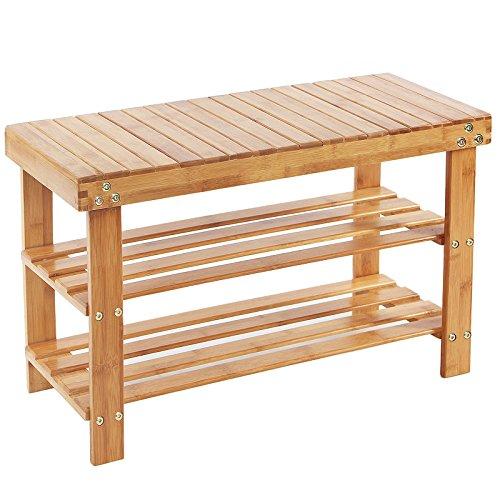 songmics schuhregal schuhbank sitzbank schuhschrank bambus garderobenbank bis kg 70 x 28. Black Bedroom Furniture Sets. Home Design Ideas
