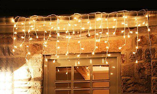 600er led eisregen lichterkette lichtervorhang eiszapfen warmwei au en innen deko f r garten. Black Bedroom Furniture Sets. Home Design Ideas