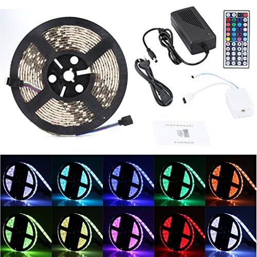 lampwin led strip streifen lichterkette rgb 5m 300leds 5050 smd ip65 20 farben 44 taste. Black Bedroom Furniture Sets. Home Design Ideas