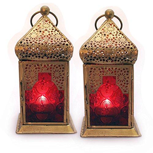 deko laterne metall glas rot gold teelicht orientalisch zum stellen und h ngen set 2 gall zick. Black Bedroom Furniture Sets. Home Design Ideas