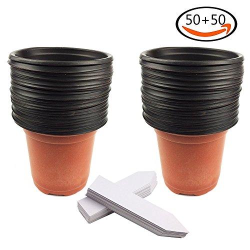 Whonline 50 st ck plastik blumentopf pflanzgef und 50 for Blumentopf plastik