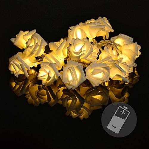 rosenbl tenkette mit 20 led warm wei batterie transparentes kabel lichterkette mit blumen. Black Bedroom Furniture Sets. Home Design Ideas