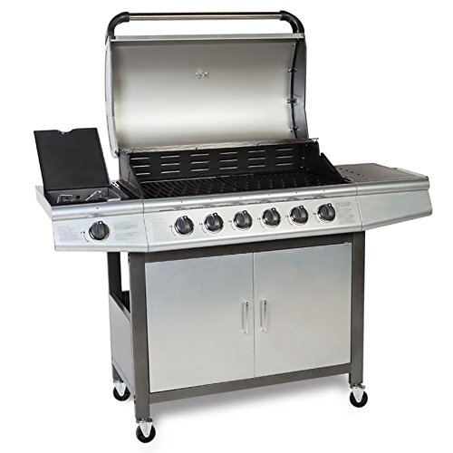 taino gasgrill bbq grillwagen 6 edelstahl brenner 1 seitenkocher gas grill t v farbe silber. Black Bedroom Furniture Sets. Home Design Ideas