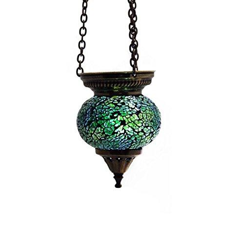 Mosaik lampe h ngelampe windlicht pendelleuchte aussenleuchte deckenleuchte aus glas gr n for Mosaik lampe orientalisch