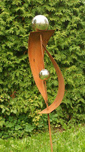 rost gartendeko rost stecker mit 2 edelstahlkugeln f r den garten. Black Bedroom Furniture Sets. Home Design Ideas