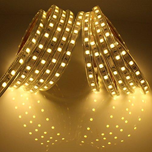 12m led stripes mit schalter 5050 ip65 led band 220v warmwei f r den garten. Black Bedroom Furniture Sets. Home Design Ideas