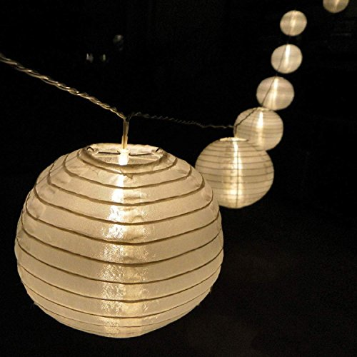 lampion lichterkette mit 15 led lampions weiss 15 cm garten au en von gartenpirat f r den garten. Black Bedroom Furniture Sets. Home Design Ideas