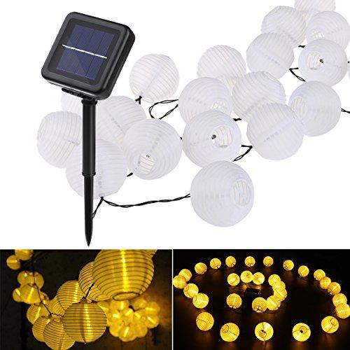 lampion solar string leuchten yunlights 30 led wasserdicht solarenergie drau en leuchten. Black Bedroom Furniture Sets. Home Design Ideas