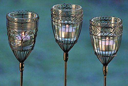 3 x gartenstab mit teelichthalter windlicht aus draht und for Gartendekoration glas