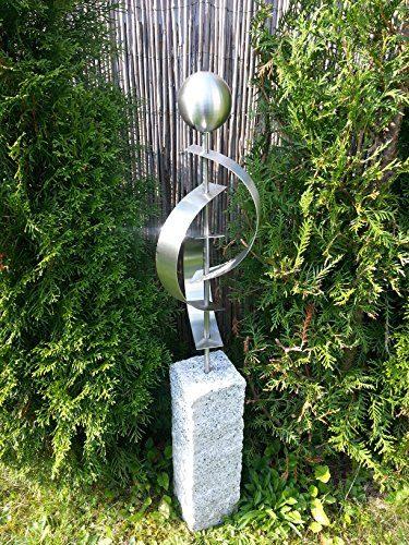 Edelstahl granitsteins ule palisade 3er stab mit for Gartendeko in edelstahl