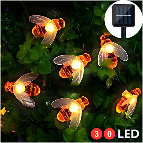 solar led bienen lichterkette mr twinklelight 30 led warmwei au en wasserdichte lichterkette. Black Bedroom Furniture Sets. Home Design Ideas