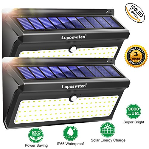 luposwiten 100 led solarlampen f r au en mit bewegungsmelder 2000lm wasserdicht solarleuchten. Black Bedroom Furniture Sets. Home Design Ideas