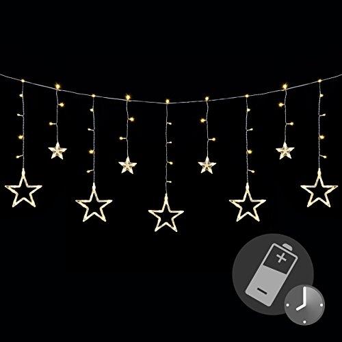 sternenvorhang 138 led warm wei lichterkette lichtervorhang fernbedienung timer batterie. Black Bedroom Furniture Sets. Home Design Ideas