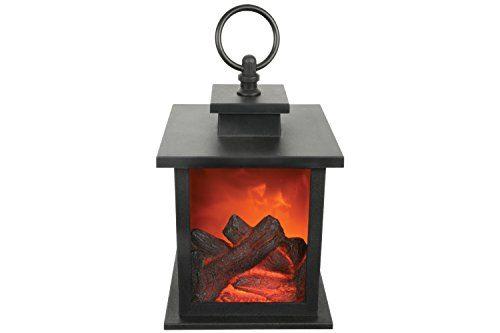 lyyt led kamin laterne mit timer schwarz na f r den garten. Black Bedroom Furniture Sets. Home Design Ideas